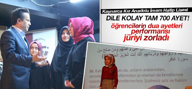 Kız öğrencilerin Dua Ayetleri performansı jüriyi bile zorladı
