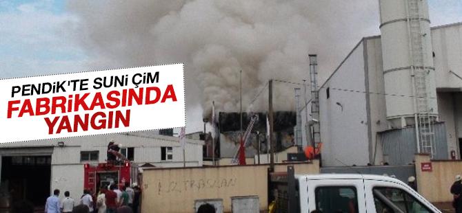 Pendik'te Suni Çim Fabrikasında Yangın