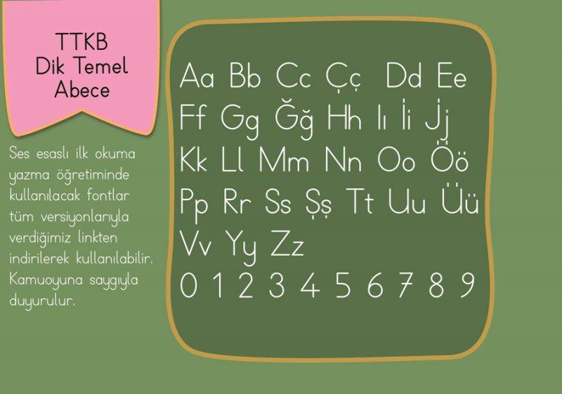MEB, Dik Teme Abece Yazı Fontu