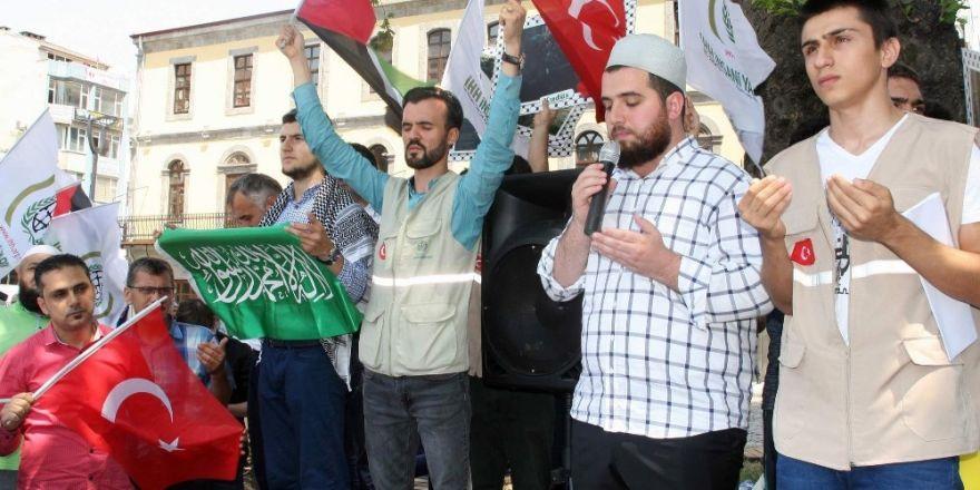 Trabzon'da cuma namazı sonrası İsrail protesto edildi