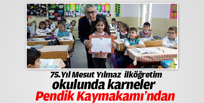 75.Yıl Mesut Yılmaz İlköğretim okulunda karneler kaymakam Şimşek'ten