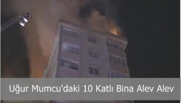10 Katlı Binanın Çatı Katında Yangın Çıktı
