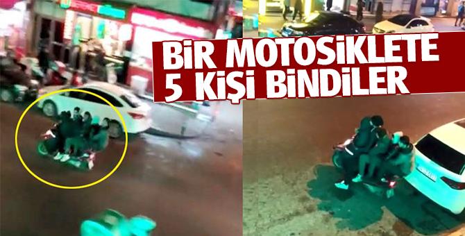 Sultanbeyli'de 5 genç bir motosiklete bindi, yürekler ağza geldi!