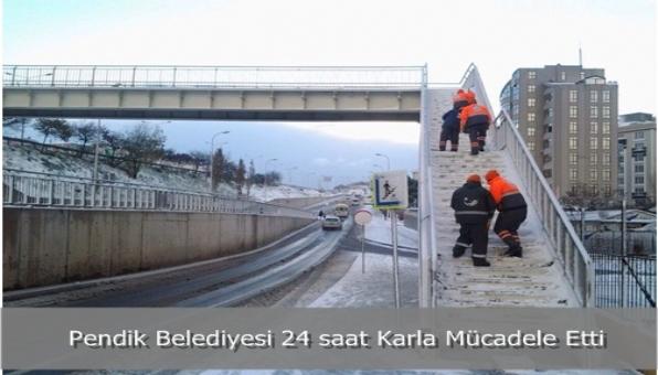 Pendik Belediyesi 24 saat Karla Mücadele Etti