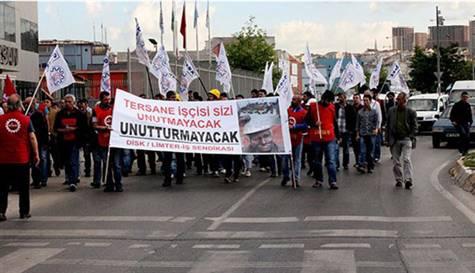 Tuzla'da Tersane işçileri Soma için yürüdü