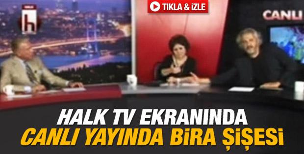 Halk TV'de canlı yayın ekranında içki şişesi