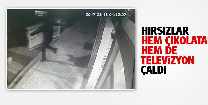 Maltepe'de Bir markete giren hırsızlar hem çikolata hem de Televizyon çaldı