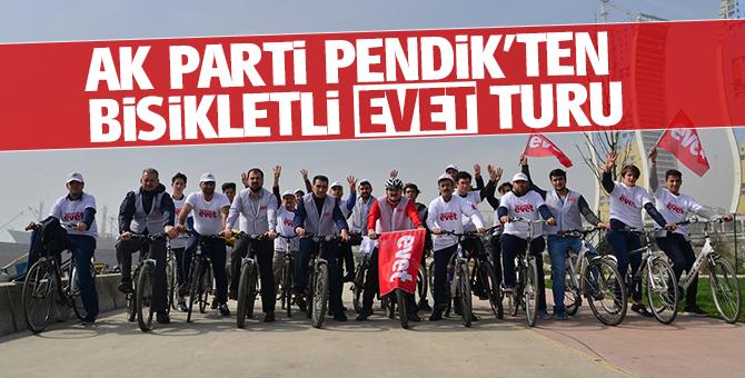 Ak Parti Pendik'ten bisikletli 'evet' turu
