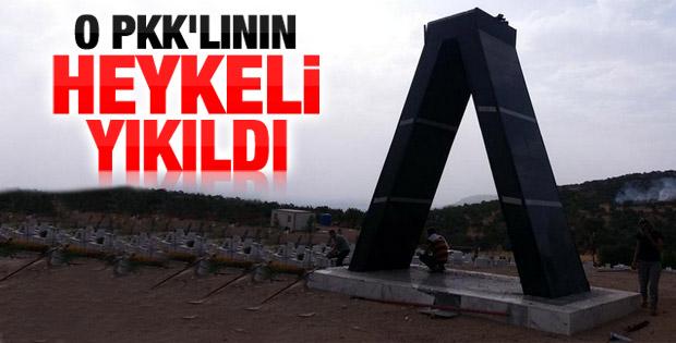 Diyarbakır'daki PKK'lı heykeli yıkıldı