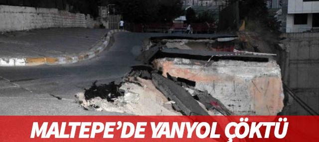 Maltepe'de Yan Yol Çöktü
