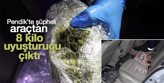Pendik'te durdurulan şüpheli aracın yakıt deposundan 8 kilo uyuşturucu çıktı