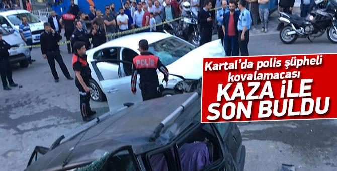 Kartal'da polis şüpheli kovalamacası:kaza ile son buldu