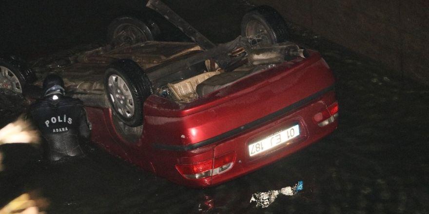 Adana'da otomobil sulama kanalına uçtu: 1 ölü 1 yaralı