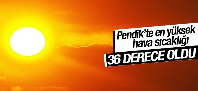 En Yüksek Hava sıcaklığı Pendik'te 36 Derece