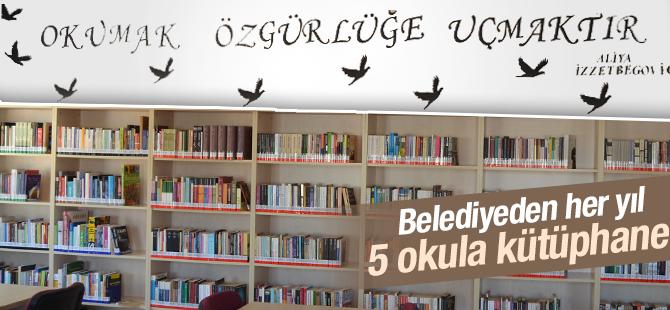 Belediyeden her yıl 5 okula kütüphane
