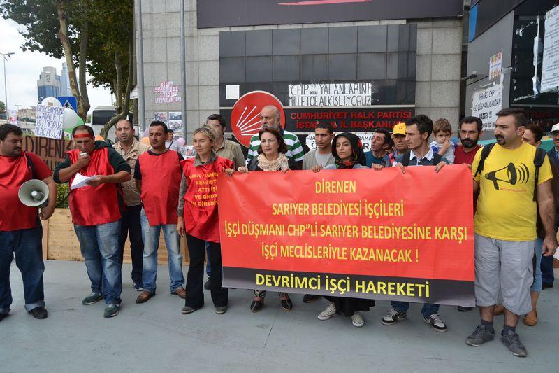 Sarıyer Belediyesi işçilerinden CHP binası önünde protesto