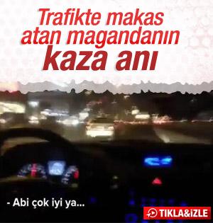 Trafik Magandası Makas Atarken Kaza Yaptı