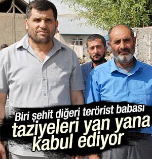 Şehit ve terörist babaları taziyeleri birlikte kabul ediyor