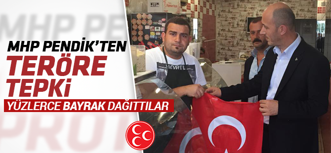 MHP Pendik Esnafa Türk Bayrağı Dağıttı