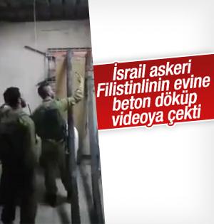 İsrail Askerleri Filistinli ailenin evine beton döktü