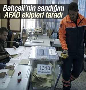 AFAD ekipleri Bahçeli'nin oy kullanacağı sandığı taradı
