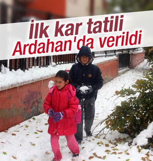 Öğrencilere ilk kar tatili Ardahan'da verildi
