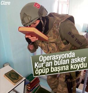 Asker bulduğu Kur'an-ı Kerim'i öpüp başına koydu