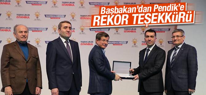 Başbakan Davutoğlu'ndan Pendik'e Rekor Teşekkürü