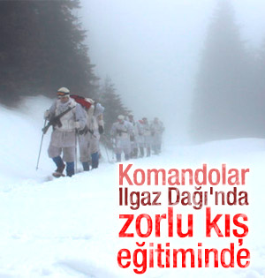 Özel komandolar Ilgaz Dağı'nda kış eğitiminde