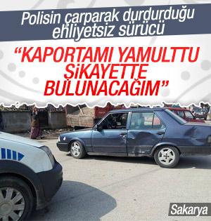 Sakarya'da polis, kaçan sürücüyü aracına çarparak durdurdu
