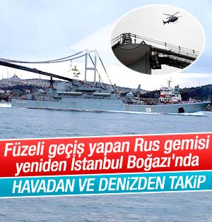 İstanbul Boğazın'dan Geçen Rus savaş gemisine Havadan Takip