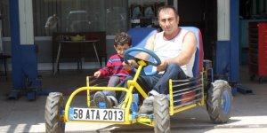 Çocuklarıyla gezmek için 4 bin liraya araç yaptı