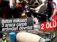Maltepe'de beton mikseri 3 aracı biçti! 2 Ölü Var