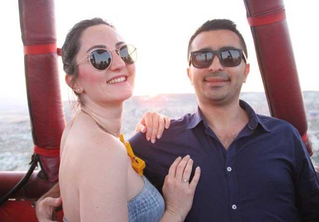 Özel Haber) Kapadokya semalarında sürpriz evlilik teklifi